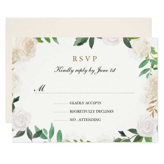 Blush Gold Watercolor Wreath Wedding RSVP Card