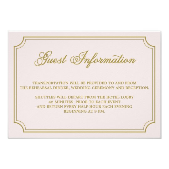 Blush & Gold Whimsical Script Guest Info Card