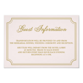 Blush & Gold Whimsical Script Guest Info Card
