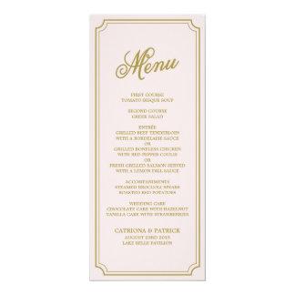 Blush & Gold Whimsical Script Menu Card 10 Cm X 24 Cm Invitation Card