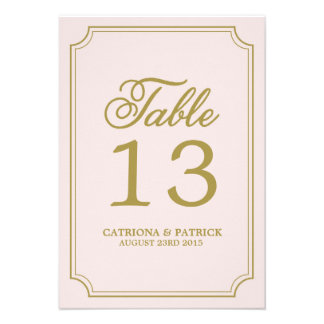 Blush Gold Whimsical Script Table Numbers Card
