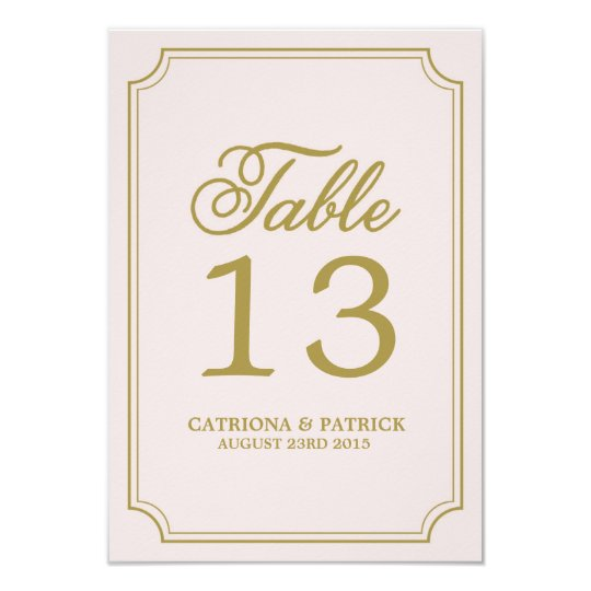 Blush & Gold Whimsical Script Table Numbers Card