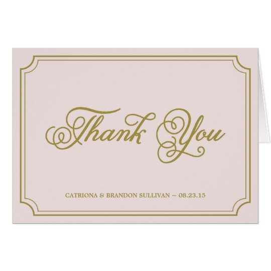 Blush & Gold Whimsical Script Thank You Card