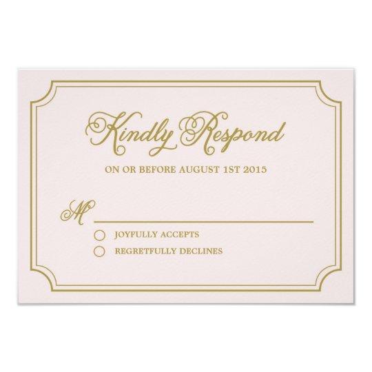 Blush & Gold Whimsical Script Wedding RSVP Card