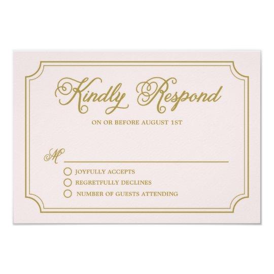 Blush & Gold Whimsical Script Wedding RSVP II