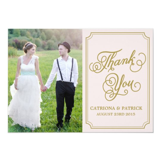 Blush & Gold Whimsical Wedding Thank You Card