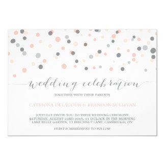 Blush & Gray Confetti Dots Wedding Invitation