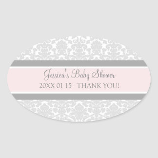 Blush Gray Damask Baby Shower Favor Stickers