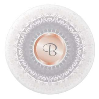 Blush Gray White Rose Gold Mandala Monogram Ceramic Knob