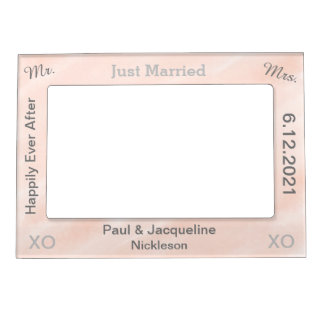Blush Grey Just Married Wedding Frames