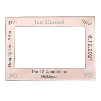 Blush Grey Just Married Wedding Magnetic Frames