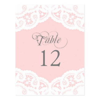 Blush Lace Doily Wedding Table Number Table Cards Postcard
