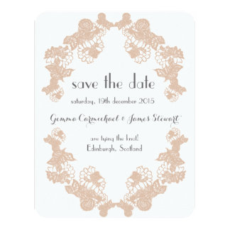Blush Lace Trim Save The Date 11 Cm X 14 Cm Invitation Card