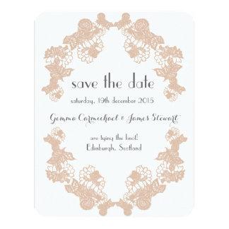 Blush Lace Trim Save The Date 11 Cm X 14 Cm Invitation Card