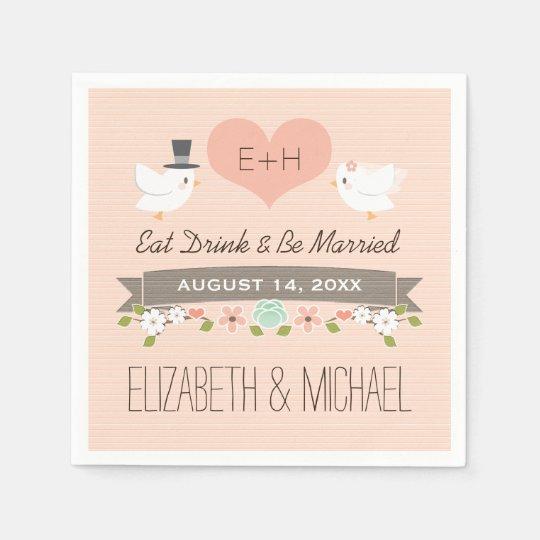 Blush Love Bird Dove Wedding Paper Serviettes