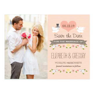 BLUSH LOVE BIRDS DOVE SAVE THE DATE POSTCARD