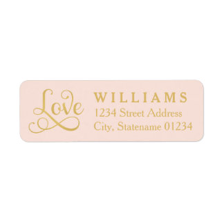 Blush Love Return Address Labels | Gold Script