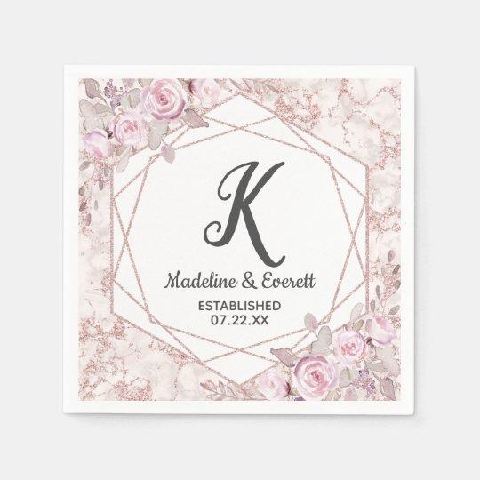 Monogram Paper Napkins Uk: Blush Pink Monogram Napkin