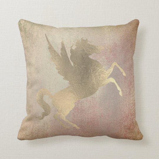 Blush Metallic Foxier Rose Gold Horse Painting Cushion
