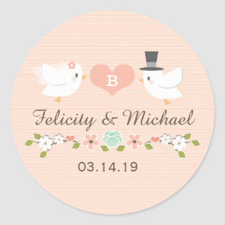 BLUSH MONOGRAM DOVE LOVE BIRDS WEDDING ROUND STICKER