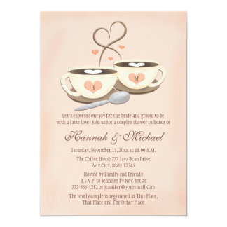 Blush Monogrammed Coffee Cup Heart Couples Shower 13 Cm X 18 Cm Invitation Card