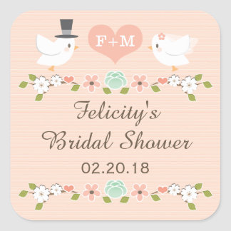 BLUSH MONOGRAMMED DOVE LOVE BIRDS BRIDAL SHOWER SQUARE STICKER