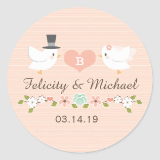 BLUSH MONOGRAMMED DOVE LOVE BIRDS WEDDING ROUND STICKER