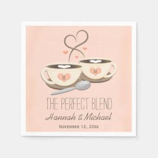 Blush Monogrammed Heart Coffee Cups Wedding Disposable Serviettes