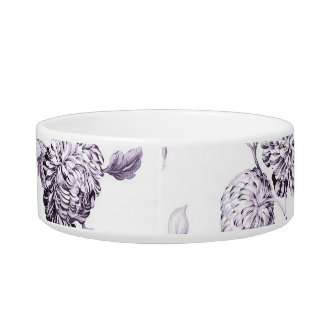 Blush Mulberry Purple Toile Customize Pet Name Bowl