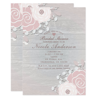 Blush Nude Rustic Floral Flowers & Wood Bridal Card