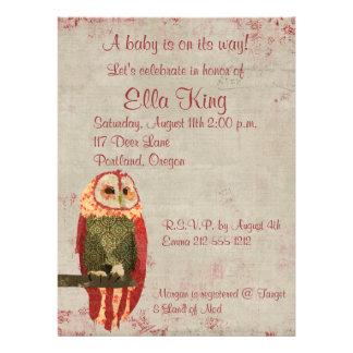 Blush Owl Baby Invitation