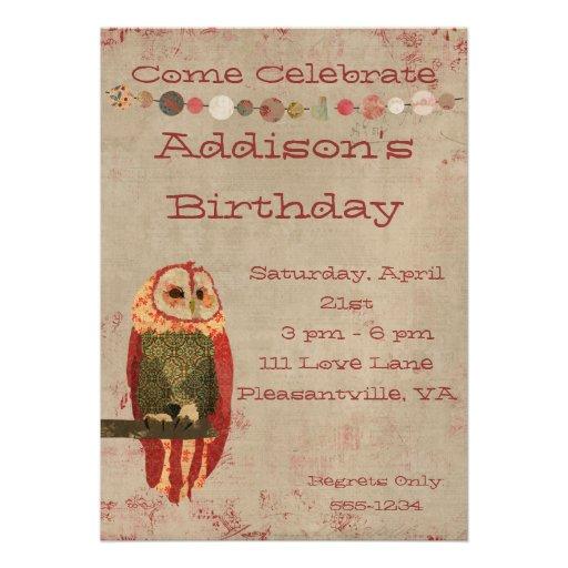 Blush Owl  Birthday Invitation