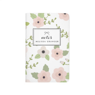 Blush Pastel Floral Pattern Personalized Journal