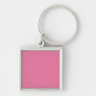BLUSH PINK (a solid pale red color) ~ Silver-Colored Square Key Ring