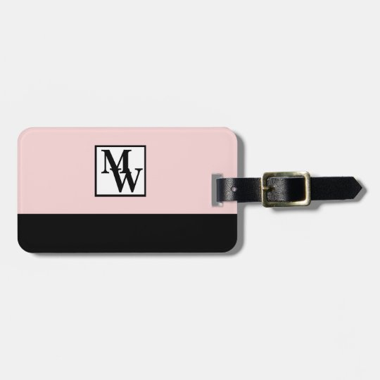 Blush Pink and Black Chic Personalised Monogram Luggage