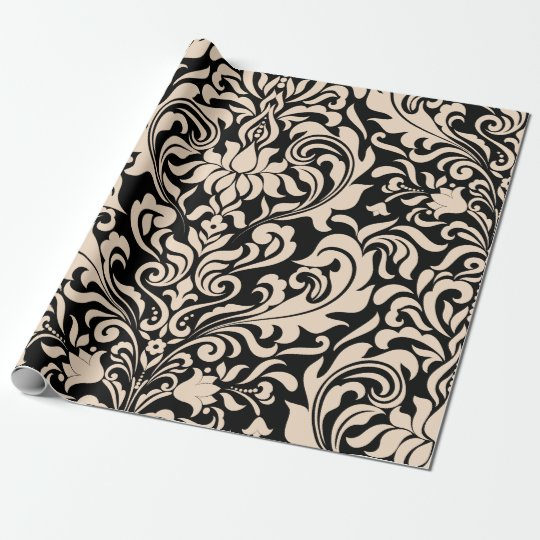 Blush Pink and Black Elegant Damask Wrapping Paper