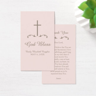 Blush Pink and Brown Cross First Communion Business Card