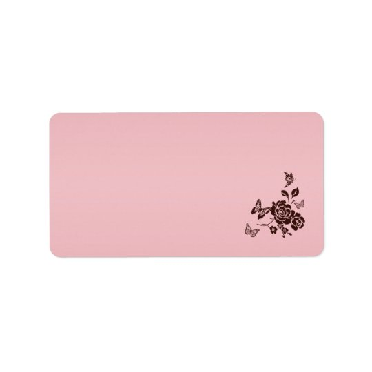 Blush Pink and Brown Floral Address Label Blank