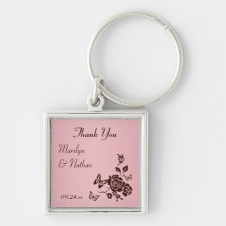 Blush Pink and Brown Floral Premium Wedding Favor Silver-Colored Square Key Ring