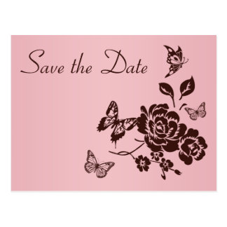 Blush Pink and Brown Floral Save the Date Card Post Cards