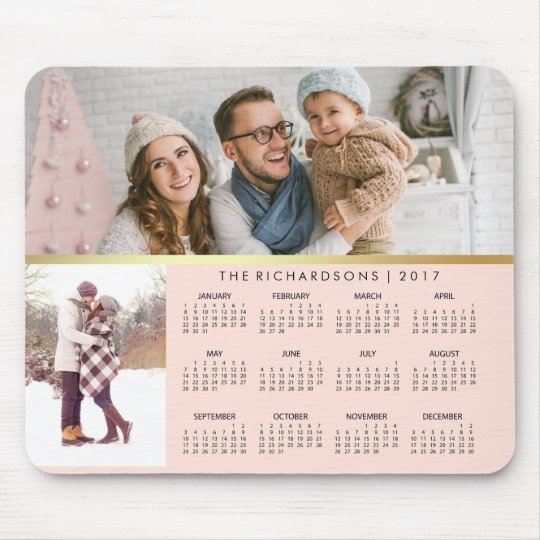 Blush Pink and Faux Gold 2017 Photo Calendar