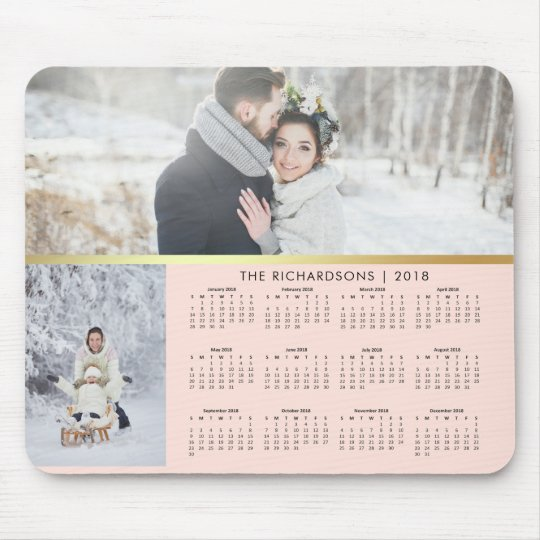Blush Pink and Faux Gold 2018 Photo Calendar