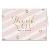 Blush Pink and Gold Baby Shower | Thank You Cards