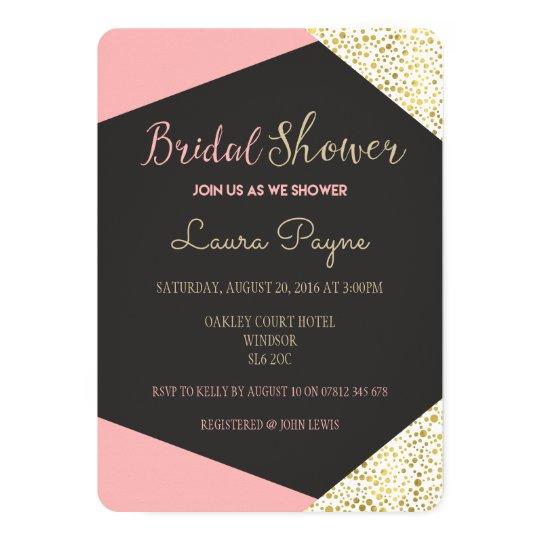 Blush Pink and Gold Bridal Shower Invitation