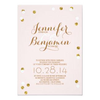 """Blush pink and gold confetti modern wedding invite 5"""" x 7"""" invitation card"""