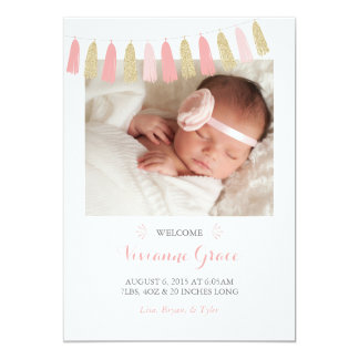 Blush Pink and Gold Glitter Birth Announcements