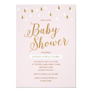 Blush Pink and Gold Glitter Raindrops Baby Shower Card