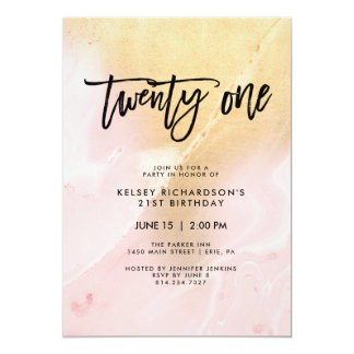 Blush Pink and Gold Marble | 21st Birthday Party Card