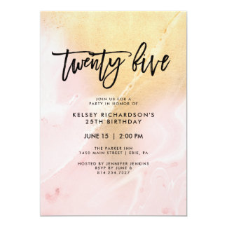 Blush Pink and Gold Marble | 25th Birthday Party Card