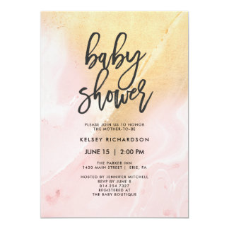 Blush Pink and Gold Marble | Baby Shower Card